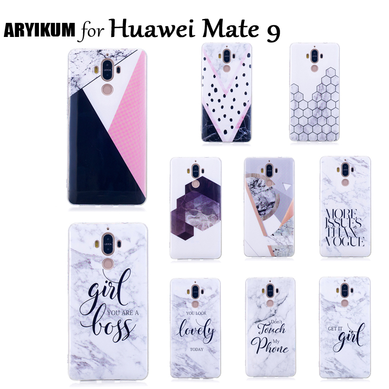 ARYIKUM Marble Mobile Case For Huawei Mate 9 L29 Dual Sim Case Silicon Phone Accessories Smart Cover For Huawei Mate9 Coque