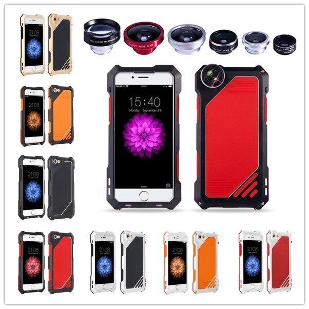imágenes para R-JUST prueba de Choques Impermeable de Aluminio del Metal Caso Con Ojo de Pez Gran Angular Macro lente Para iPhone 7 6 S Más 5 SÍ Galaxy S8 S7 borde