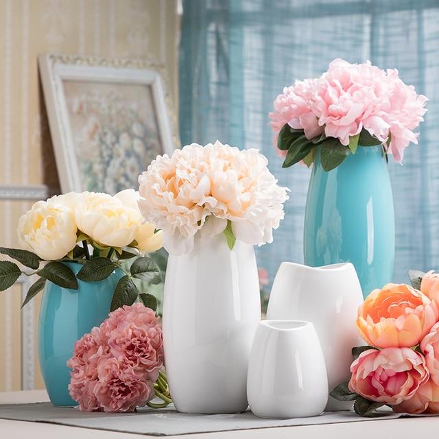 Simple style white blue ceramic vase flowers hydroponic floral fresh simple style white blue ceramic vase flowers hydroponic floral fresh flowers vase modern home wedding decoration mightylinksfo