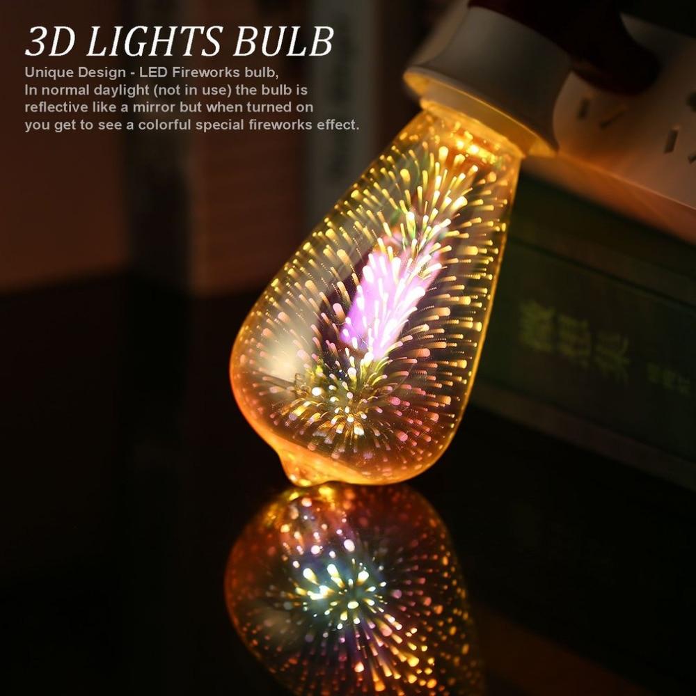 Colorful 3D Fireworks LED Light Bulbs E27 4W Ball Light Holiday Christmas Party Decoration Lamp Star Fairy Night Light Drop Ship