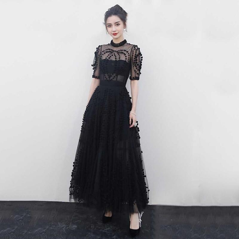 Robe de soirée noire 2019 nouvelles femmes piste voir si longue Robe de bal Sexy maille Robe de bal longueur de plancher longue Robe de soirée