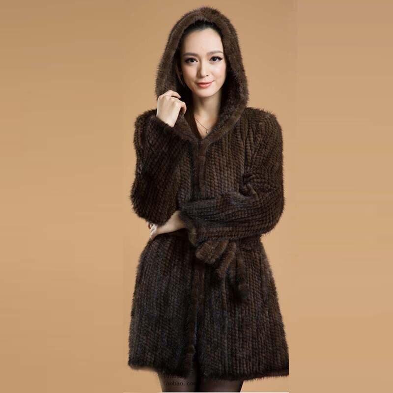BFFUR Femmes Véritable Fourrure de Vison Tricoté Manteaux Veste Avec Capuche Réel Naturel Fourrures Vêtements Mode Hiver Chaud BF-C0117