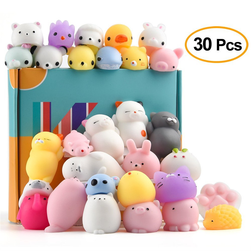 30Pcs Animal Squishies Toys Easter Egg Fillers Kawaii Squishy Panda Cat Paw Cute Mini Soft Squeeze Stress Reliever Balls Toys