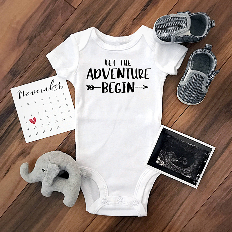 DERMSPE Baby Jumpsuits 0-24M Summer Newborn Baby Clothes Short Sleeve Let The Adventure Begin Infant Boy Girl Romper Outfits Hot