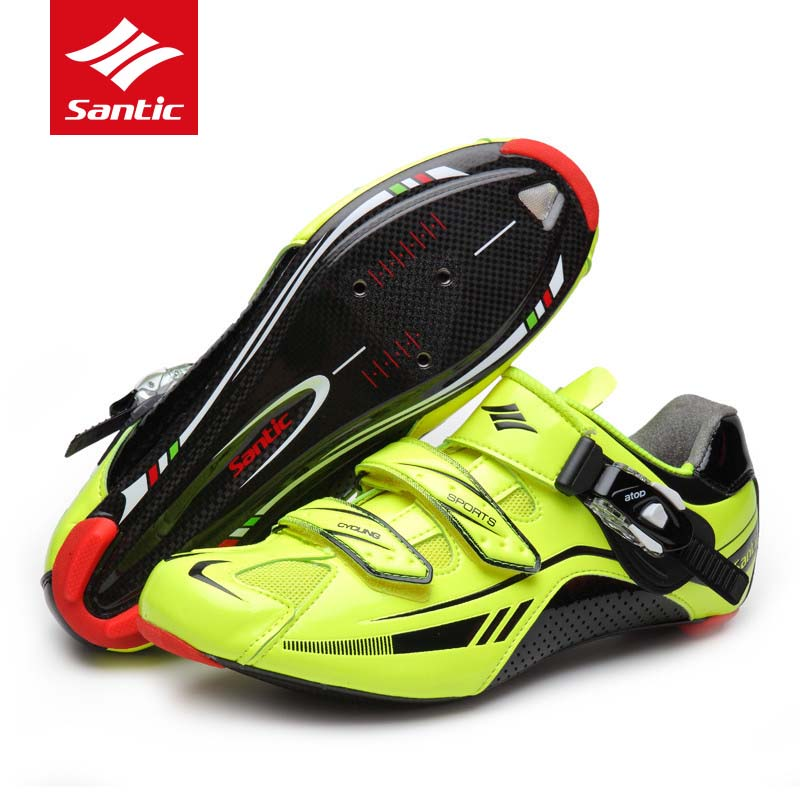 Santic Cycling Shoes Men Road Carbon Fiber Ultralight Racing Bike Shoes Black Athletic Bicycle Shoes Sneakers Sapatilha Ciclismo inbike road cycling shoes men 2018 carbon fiber road bike shoes self locking bicycle shoe athletic sneakers sapatilha ciclismo