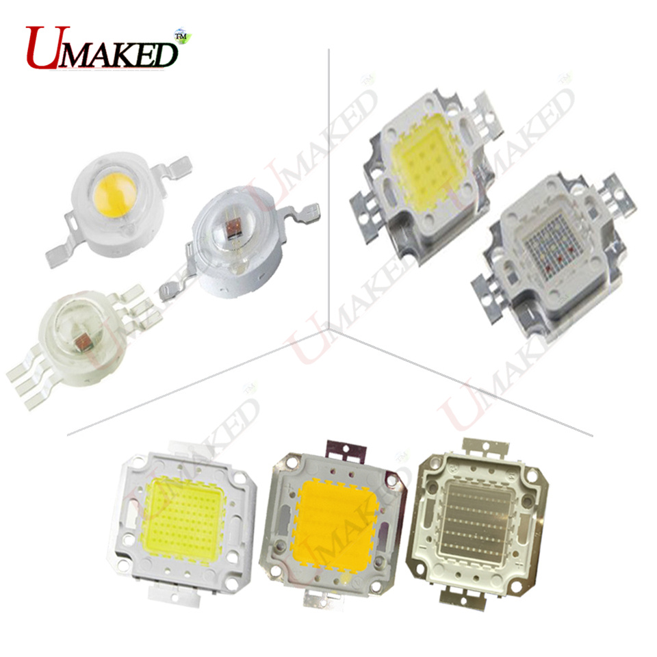 High Power LED Chip 1W 3W 10W 20W 30W 50W 100W COB SMD LED Bead Warm Cool White RGB Red Blue Green for led Floodlight Spotlight