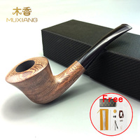 MUXIANG Good Quality Handmade Wenge Solid Wood Horn Shape Pipes With 9 Mm Activate Carbon Bent