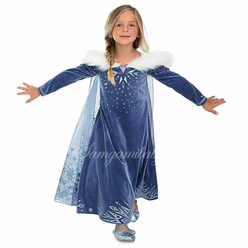 New Girls Dresses Hairy Snowflake Queen Princess Dress For Girls Cartoon Cosplay Elsa Anna Dresses Costume Clothes Kids Clothing cnjiayun girls dress cartoon cosplay snow queen princess dresses elsa dresses anna costume baby children clothes kids clothing