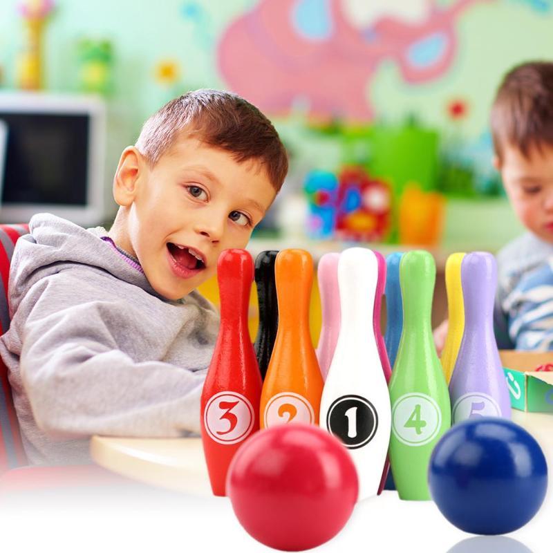 Дети мультфильм Радуга Боулинг мяч с шариками бутылки дети деревянный Цифровой боулинг набор детский открытый спорт играть познавательная игрушка
