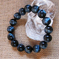 12mm Genuine Natural Blue Tiger's Eyes Gem Stone Round Beads Jewelry Stretch Women Mens Bracelet Free Shipping
