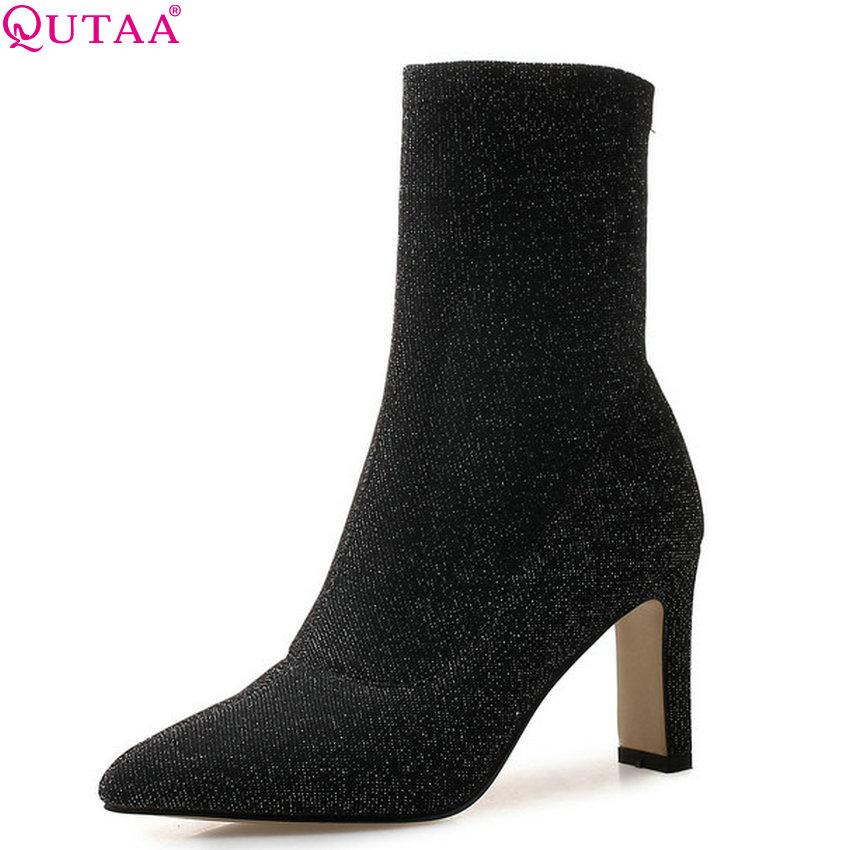 Cheville D'hiver 43 2019 Carré Tous Qutaa Pointu Noir Les Bout Chaussette Match Chaussures Bottes Élégant Grande Femmes 34 Hauts Taille À Talons 0OwPnXN8k