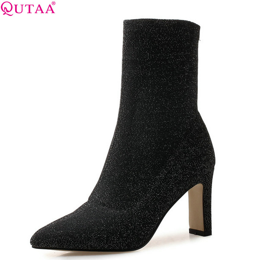 QUTAA 2019 Women Ankle Boots Square High Heel All Match Pointed Toe Winter Boots Elegant Sock Boots Women Shoes Big Size 34-43 women s ankle boots strappy pointed toe vogue comfy all match shoes