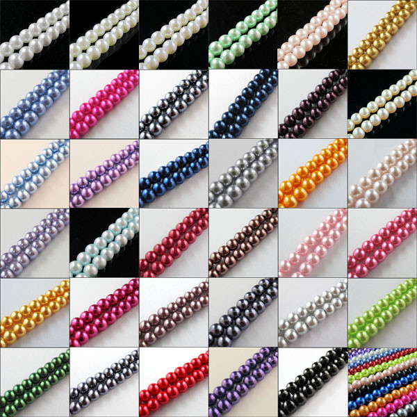 Spacer-Beads Glass Round-Ball Jewelry-Making Pearl Loose Approx One-Strand For No.gpb4