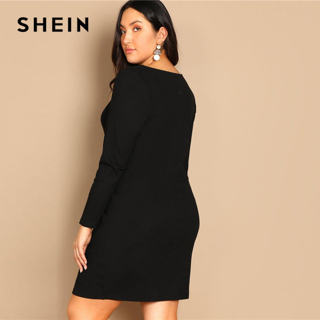 SHEIN Black Buttoned Long Sleeve Casual Plus Size Bodycon Short Dress Women Spring Office Stretchy Slim Fit Mini Dress 1