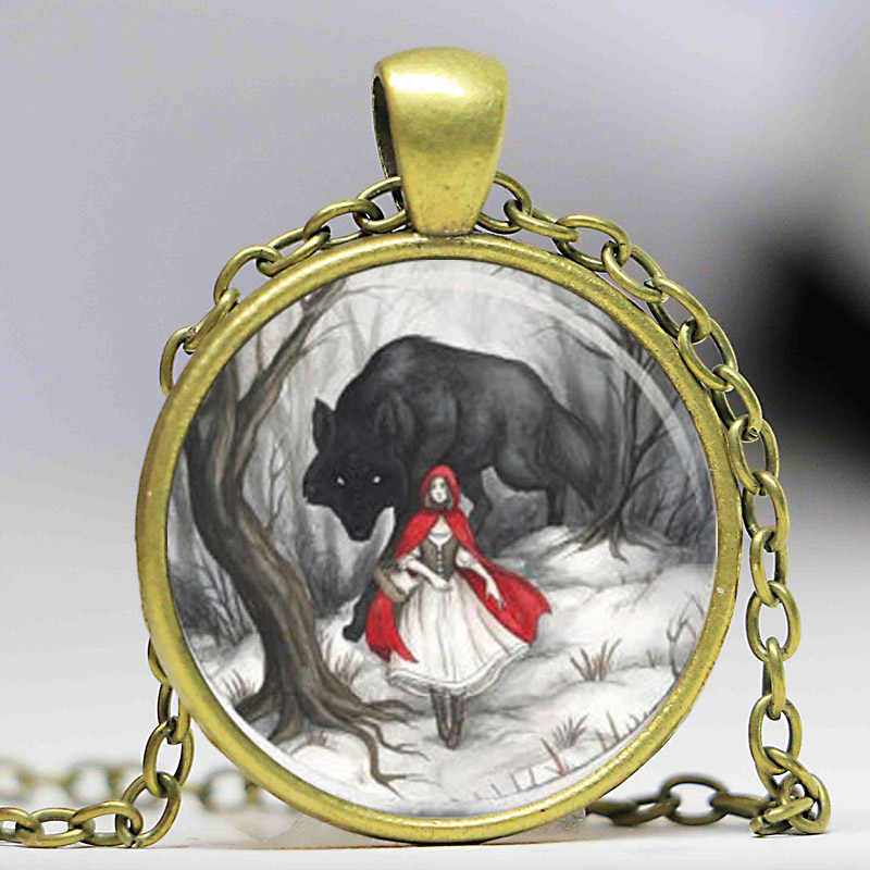 Steampunk prezent ślubny łańcucha film wilkołaka cartoon mały Czerwony Kapturek naszyjnik 1 sztuk/partia brąz srebrny wisiorek – biżuteria kobiet