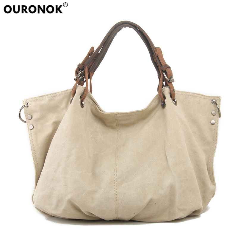 OURONOK Vintage Canvas Shoulder Bag Ladies Handbags Canvas Bag Big Women Hand Bag Casual Luxury Tote Bags Designer Handbags bolsas femininas 2018 designer handbags high quality casual canvas bag women handbags sac femme tote ladies shoulder hand bag