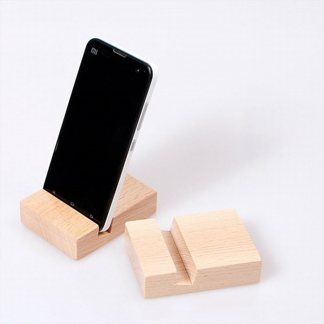buy 100pcs wood holder phone support telephone handmade stand for iphone zuk z2. Black Bedroom Furniture Sets. Home Design Ideas