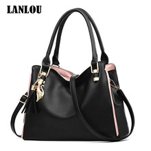 LANLOU Women bag handbag 2019 new sleek minimalist large-capacity handbag shoulder bag(China)