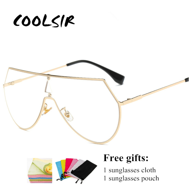 COOLSIR Onepiece Winter Style Clear Lens Glasses Frame for Men and Women Sunglasses One-piece Glass