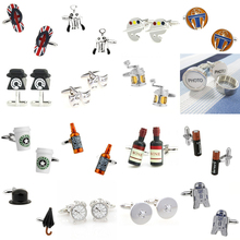 Slipper Telephone Mask Fish Line Photo Wine Bottle Battery Magic Button Cufflink Cuff Link 1 Pair Big Promotion cheap Tie Clips Cufflinks Fashion Classic Cuff Links TZG115 Simulated-pearl Stone Various Stainless Steel