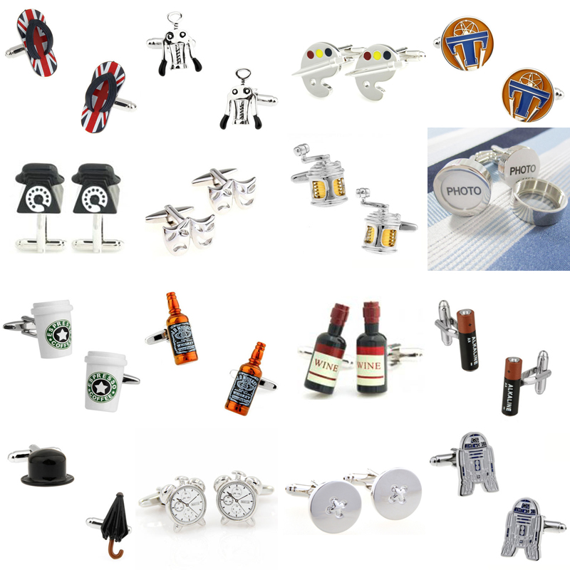 Slipper Telephone Mask Fish Line Photo Wine Bottle Battery Magic Button Cufflink Cuff Link 1 Pair Big Promotion