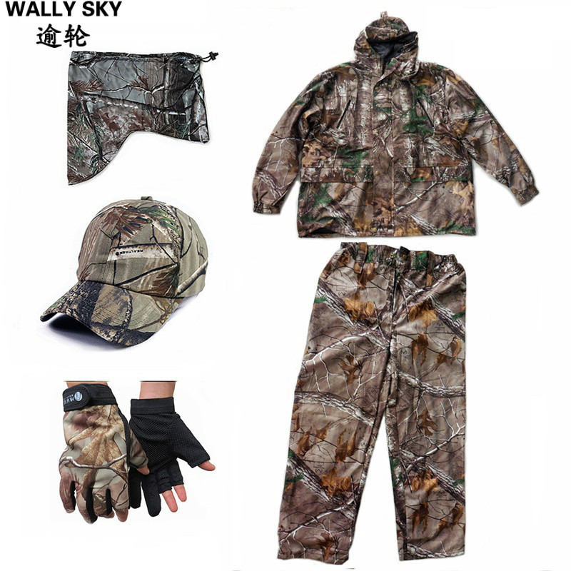 Bonic Camouflage Hunting Clothing Waterproof Breathable Ghillie Suit 5pcs/set Camo Jacket Trousers Pants Hat Face Mask Gloves spring autumn military camouflage army uniform ghillie suit jacket and trousers hunting clothes with cap face mask for hunting