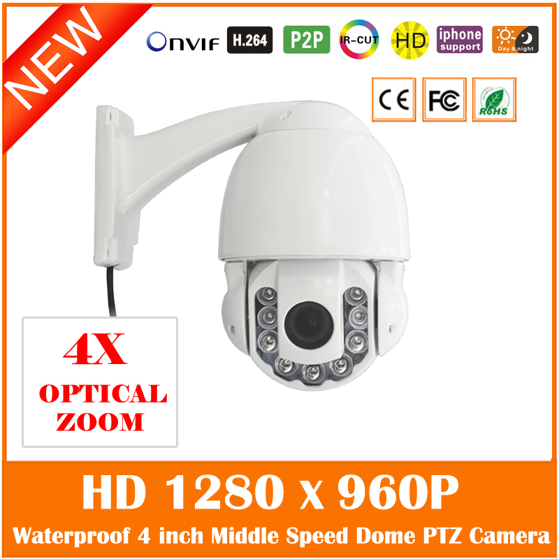 Mini 4 Inch Middle Speed Dome Ip Camera 4x Optical Zoom 960p Ptz Outdoor Night Vision Waterproof Cctv Cmos Webcam Hot Sale