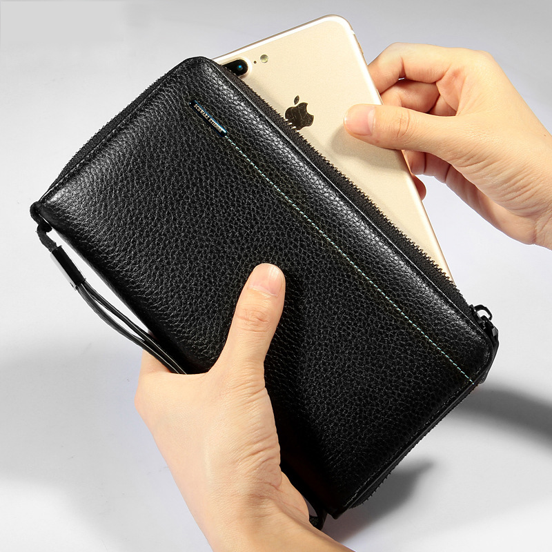 fashion business design Vintage Large Wallet Purse, Cowhide Genuine leather iphone clutch wallet Card holder Leather Wallet