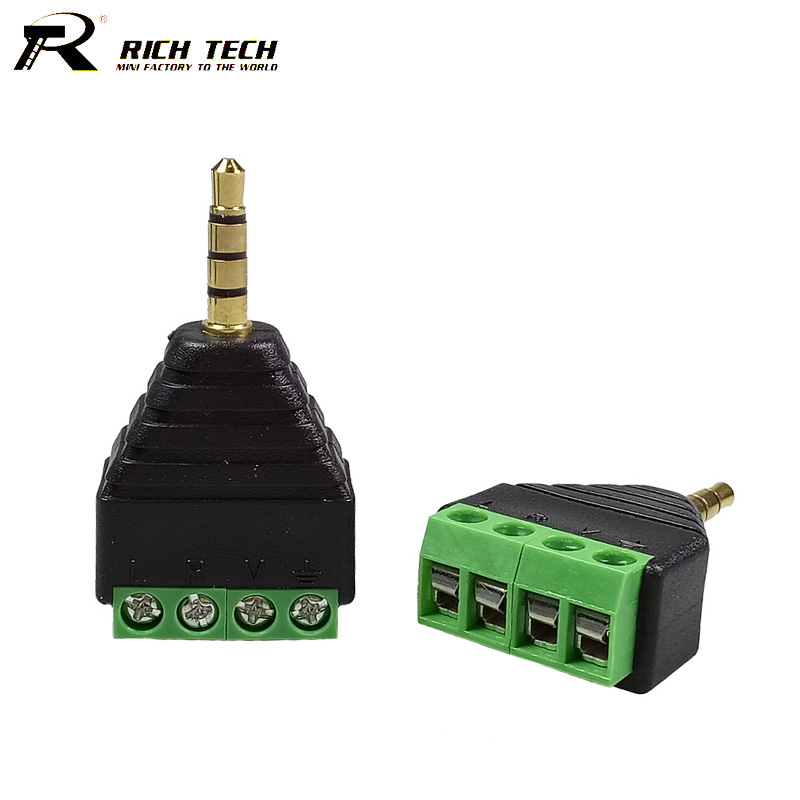 10pcs 3.5mm 4 Poles Stereo Male Plug to Video Screw AV Balun 4 Pin Terminal Block Connector 3.5 Plug to 4 Poles AV Balun Adapter 10pcs phono rca male plug to av screw terminal connector cctv video av balun
