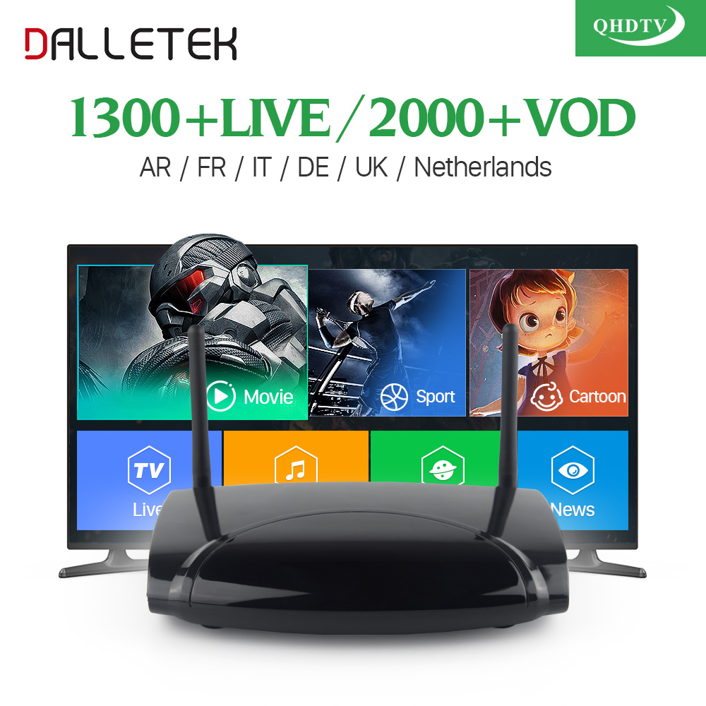 Dalletektv Android 6.0 TV Box Europe French Netherlands IPTV Box 1300 Plus Sport Africa Channels Strong Wifi IPTV Set Top Box