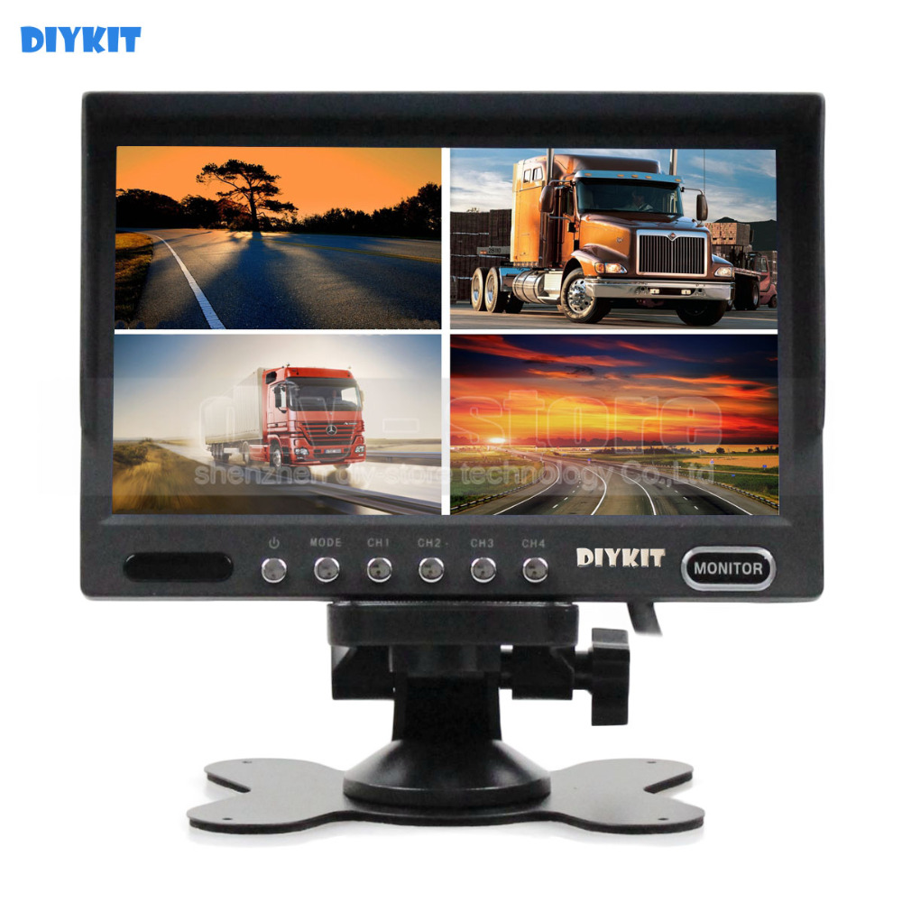 DIYKIT High Quality 7 Inch 4 Split Quad Display Color Rear View Monitor Car Monitor for Car Truck Bus Reversing Camera bus zadar split
