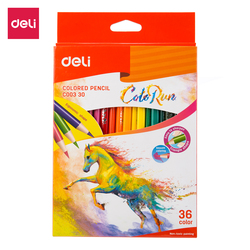 Deli ec003 lápis colorido 12/18/24/36 cores pintura da arte desenho lápis de cor de madeira kit cores material escolar