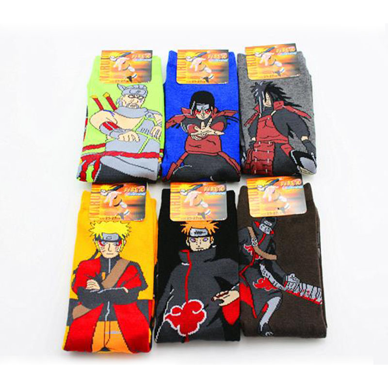 1 Pair Kawaii Japan Anime Naruto Socks Uzumaki Naruto Print Cotton Cosplay Socks Accessories Cute Plush Toys
