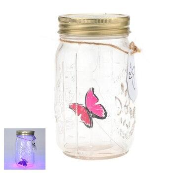 Lámpara romántica de cristal LED mariposa luz en frasco regalo de San Valentín hermosa lámpara de botella de mariposa bonito gran regalo para los amantes de los niños