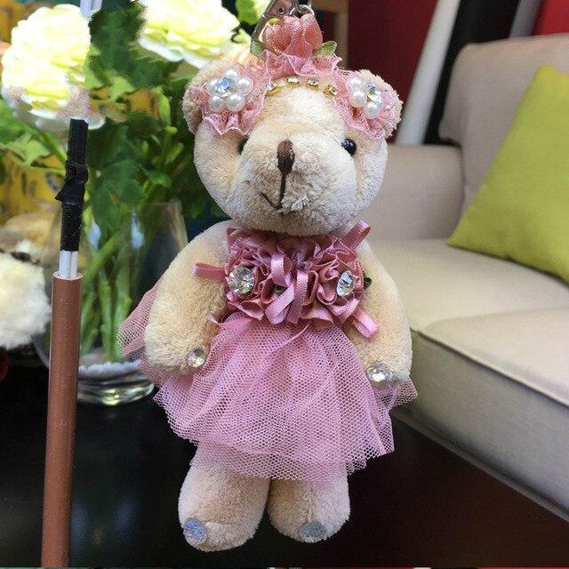 1 pcs 15 cm Mini Urso De Pelúcia Brinquedos de Pelúcia Chaveiro Pingente de Casamento Bouquet Cartoon de Pelúcia Boneca Brinquedos Meninas Do Presente Do Natal