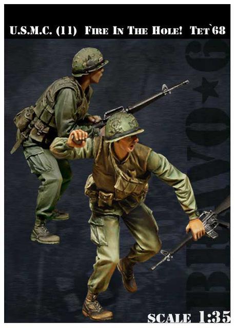 Modelos em escala 1/35 USMC Fire In The Hole! Tet '68 soldados figura Histórica DA SEGUNDA GUERRA MUNDIAL Resina Modelo Frete Grátis