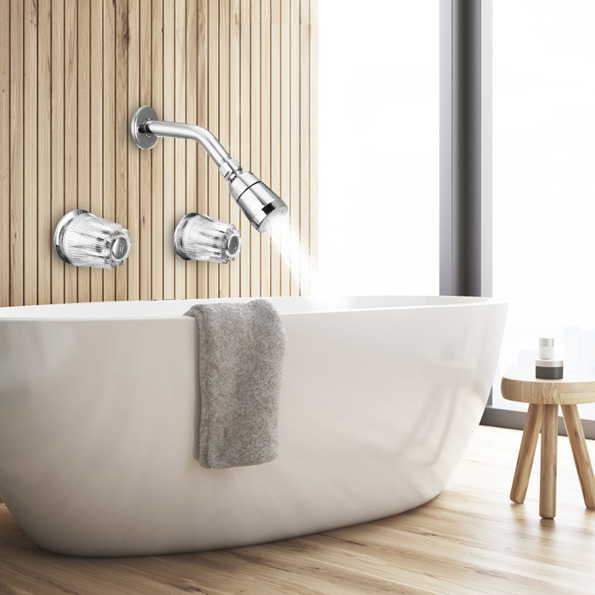 Xueqin Brass Double Crystal Handles Bathtub Basin Faucets Shower Faucet Spout Mixer Tap Cold And Hot Wall Mounted Two Holes