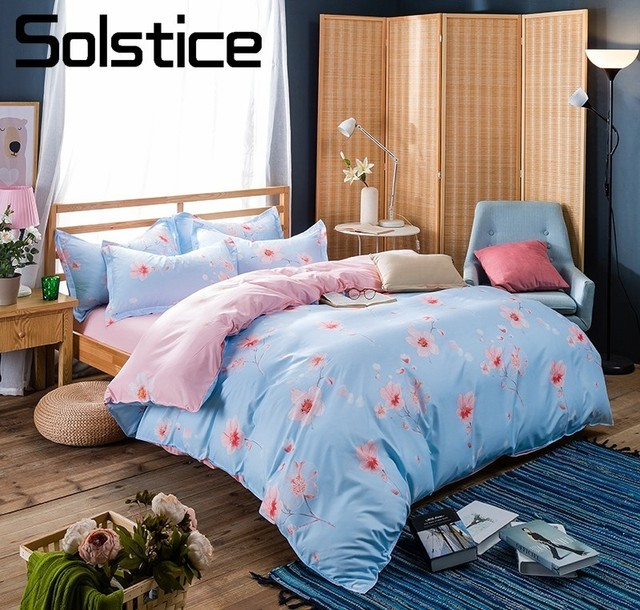 US 30 OFF Solstice Home Textile Cherry Blossoms Pink Bed Linen Girls Teens Bedding Sets 3 4Pcs Duvet Cover Sheet Pillowcase King Twin Size In