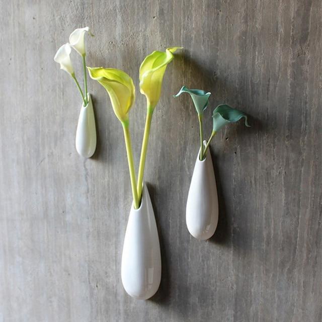 Белый современный керамическая ваза комплект стиль цветок стены дома краткое домашнего декора ремесло