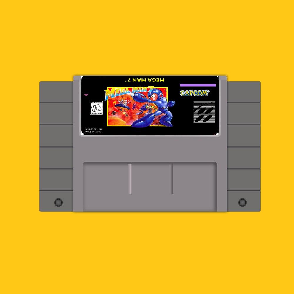 Mega Man 7 46 Pin 16 Bit Grey Game Card For USA NTSC Game Player