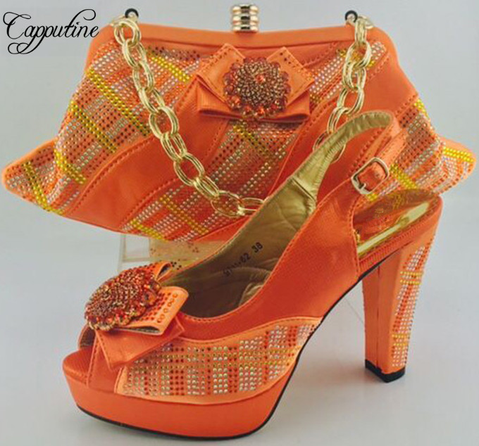 Capputine 2017 New Charming Italian Shoes And Matching Bags Set African Rhinestones Pumps Shoes And Bags Set For Party ME6606 capputine african style crystal shoes and matching bag set for party fashion women pumps slipper shoes and bags set size 37 43