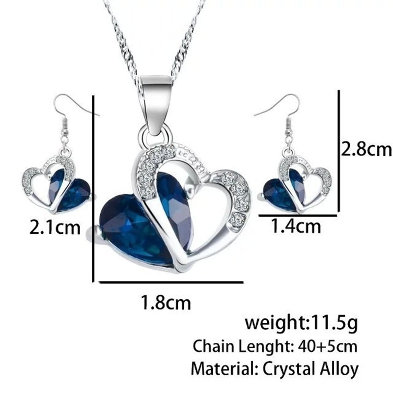 Crystal Love Blue Heart Jewelry Sets