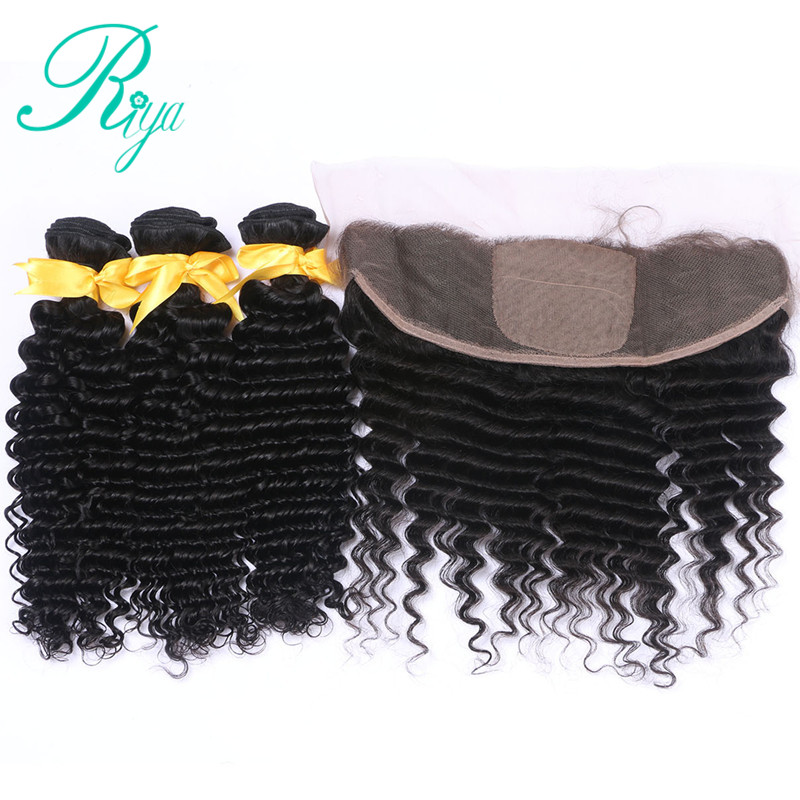 Riya Hair Peruvian Human Hair Deep Wave 3 / 4 Bundles With 13* 4 Lace Frontal Silk Base Remy Hair Natural Color ...
