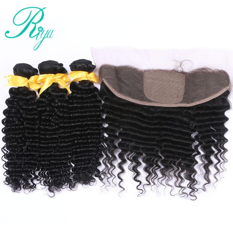 Riya Hair Peruvian Human Hair Deep Wave 3 / 4 Bundles With 13* 4 Lace Frontal Silk Base Remy Hair Natural Color ...