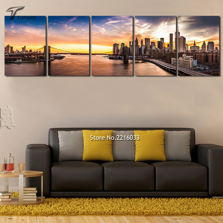 new york wall art nightfall cityscape pictures print no frame brooklyn bridge panorama painting
