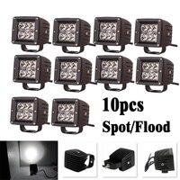 10pcs 3 Inch 18W LED Work Light Square Cube Pods Fog Lamp Spot Flood Beam For