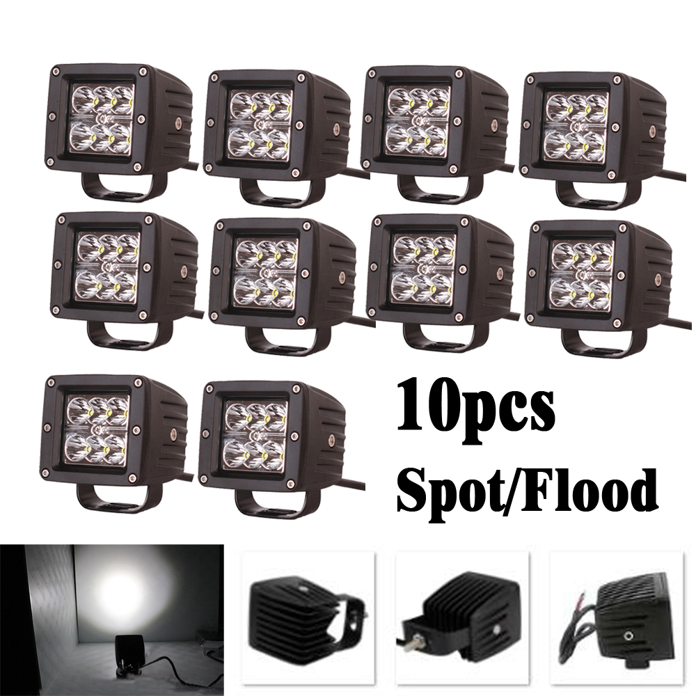 10pcs 3 inch 18W LED Work Light Square Cube Pods Fog Lamp Spot/Flood beam For Driving Offroad Truck Motor Jeep Ford GMC ATV SUV good news ip67 4000lm dc 10 45v flood beam 40w cree led work light lamp 4x10w led driving fog lamp driving working light