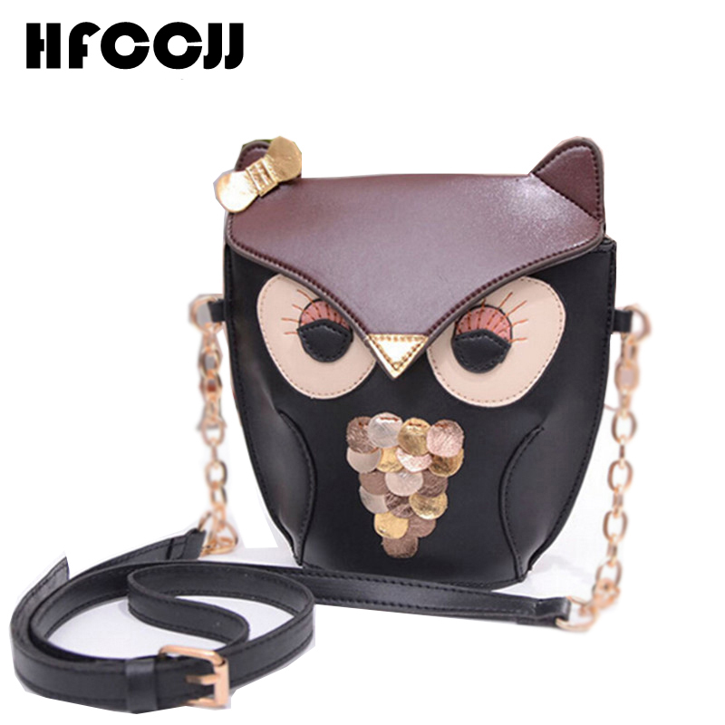 96475f62a 2016 Korean New Retro Leather Lovely Owl Bag Women Messenger Bag Fox Chain  Crossbody Bag For