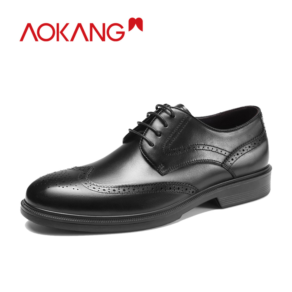 AOKANG New Arrival Autumn Men Shoes genuine leather brogue shoes man breathable dress shoes men hardwearing
