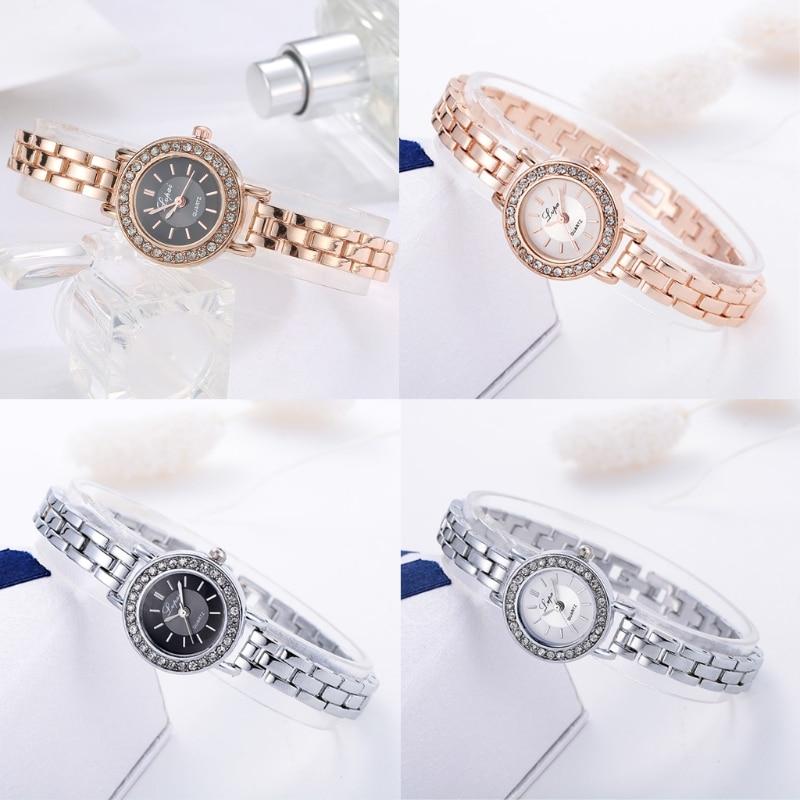 Luxury Watch Women Stainless Steel Quartz Bracelet Wrist Wristwatch Ladies Golden Dot Diamond Watches